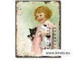 Retro termomeeter  tüdruk kassi ja koeraga